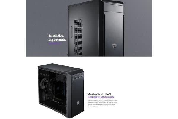 CoolerMaster MasterBox Lite 3 mATX with 500W Continuous PSU, Solid Side Panel, USB3.0 x1, USB2.0 x1 Case