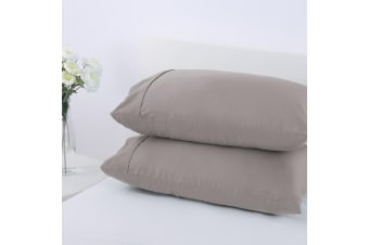 Dreamaker 250TC Plain Dyed Standard Pillowcases - Twin Pack -48X73cm Stone