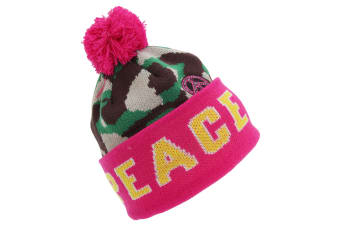 Childrens Girls Peace/Love Winter Bobble Hat (Peace) (One Size)