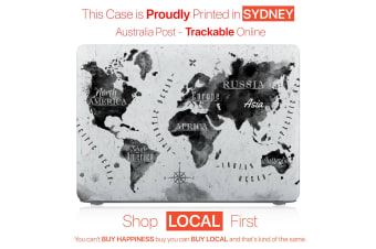 "Hard Case Cover for Apple Macbook Pro 13"" Inch  A1708-Black White Map"