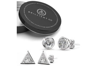 2pc Sterling Silver Simulated Diamond Earrings Set