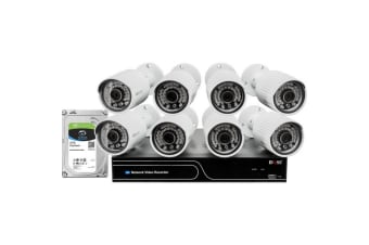 8Ch NVR/1080P IP Camera Kit Bullet IPC With 2Tb HDD White