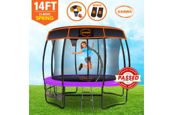 Kahuna Trampoline 14 ft with Basketball set and Roof - Purple