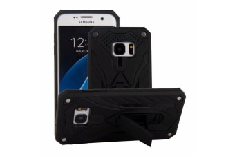 For Samsung Galaxy S7 EDGE Case  Armour Strong Shockproof Cover Kickstand  Black