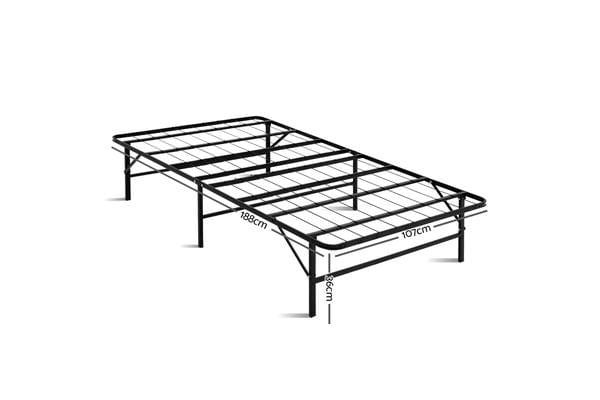 Artiss Foldable King Single Metal Bed Frame (Black)