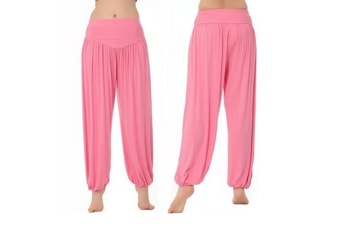 Womens Modal Cotton Soft Yoga Sports Dance Harem Pants Pink S