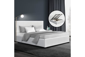 Artiss Double Size Bed Frame Gas Lift PU Leather Wooden Storage Steel White