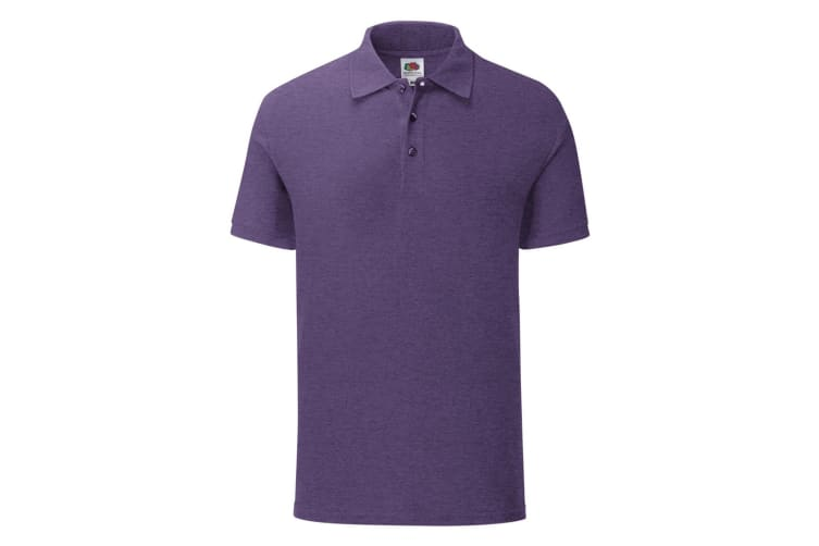 Fruit Of The Loom Mens Iconic Pique Polo Shirt (Heather Purple) (XL)