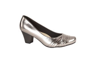 Comfort Plus Womens/Ladies Wide Fit Folded Vamp Court Shoes (Pewter)