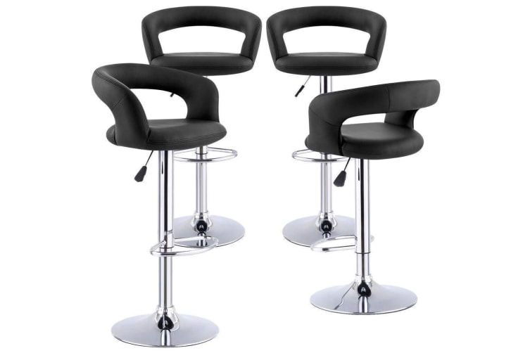 4x PU Leather Swivel Bar Stools Dining Chair Gas Lift Adjustable Fast Shipping