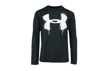 Under Armour Boys' Grafitti Big Logo L/S T-Shirt (Black/White, Size M)