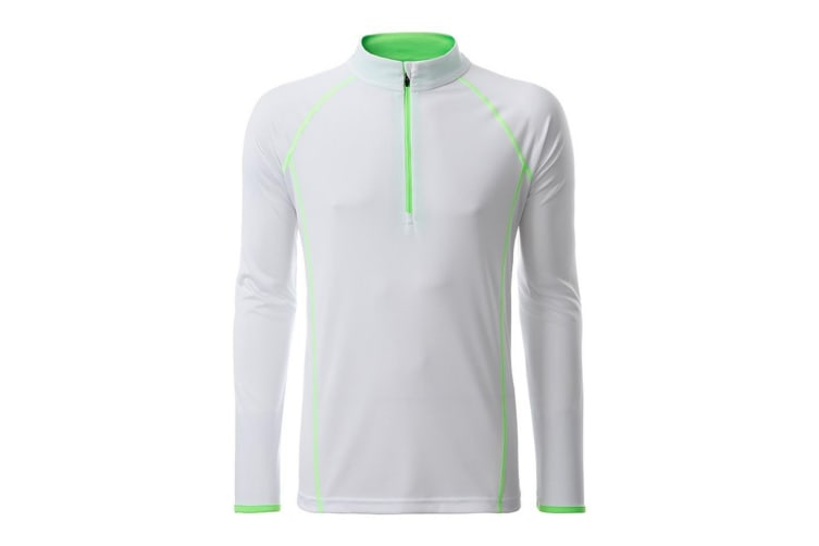 James and Nicholson Mens Long Sleeve Sports Top (White/Bright Green) (M)
