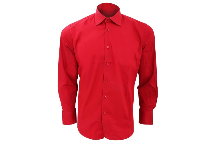 SOLS Mens Brighton Long Sleeve Fitted Work Shirt (Cardinal Red) (M)