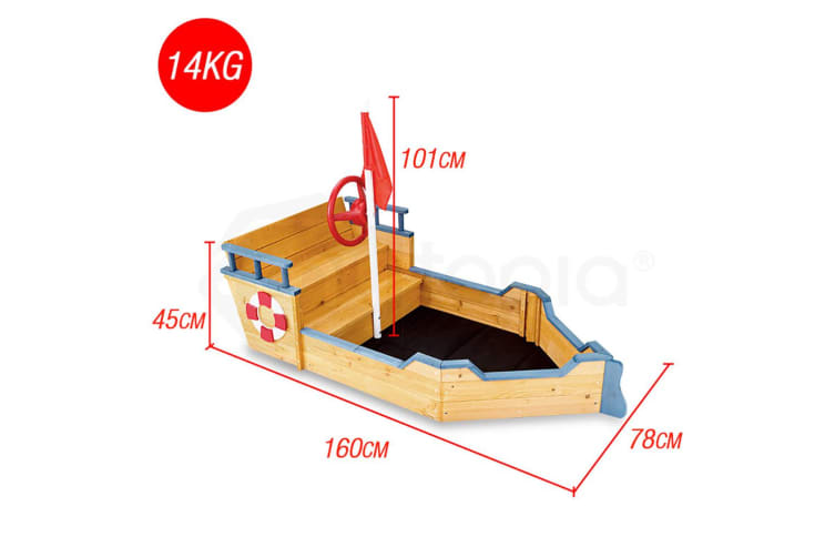 Rovo Kids Kids Boat Sandpit - Wooden Outdoor Play Sand Pit Children Toy Box Large