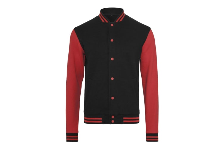 Build Your Brand Mens Sweat College Jacket (Black/Red) (3XL)