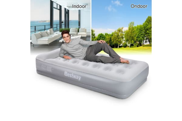 Bestway Single Inflatable Flocked Mattress Built-in Pillow & Pump