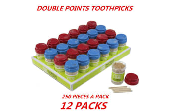 12 x Double Side Sharp Point Smooth Super Strong Bamboo Toothpick Kitchen Home 250pcs