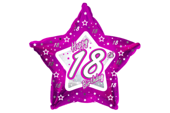 Creative Party Happy 18th Birthday Pink Star Balloon (Pink)