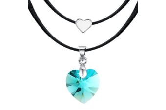 Love To Blue Zircon Heart Necklace Embellished with Swarovski crystals