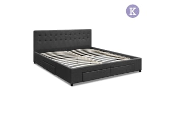 King Fabric Bed Frame with Storage Drawers (Grey)