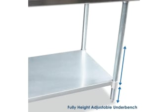 NSF Certified Stainless Steel Commercial/Home Kitchen Prep & Work Table with Under Shelf 183cm x 61cm