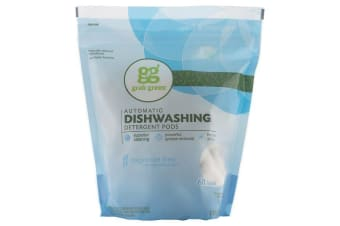 Grab Green Automatic Dishwashing Detergent Pods Natural & Non Toxic Formula - Fragrance Free, 60 Loads, 1080g