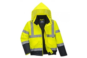 Portwest Unisex Hi-Vis Bomber Jacket (S463) / Workwear / Safetywear (Hi-Vis Yellow/ Navy) (S)