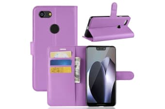 For Google Pixel 3 XL Leather Wallet Case Purple Lychee Cover Stand Card Slots
