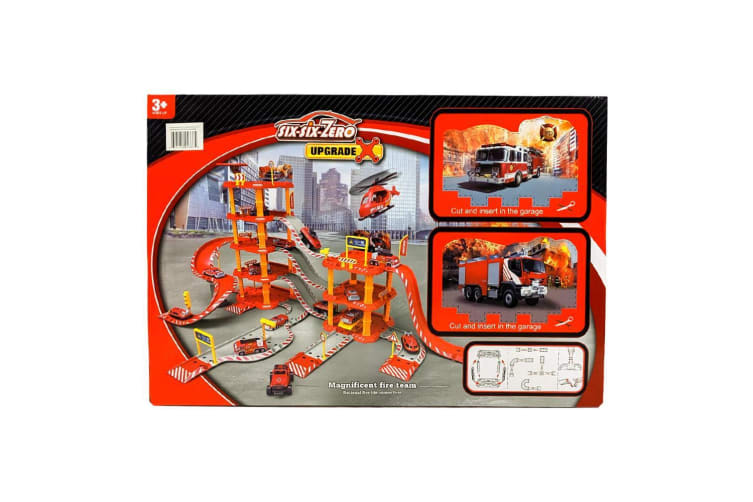 Build Your Own Fire Fighter Parking Lot with 2 Diecast Cars