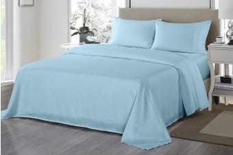 Royal Comfort 1200TC Ultrasoft Microfibre Bed Sheet Set (Queen, Sky Blue)