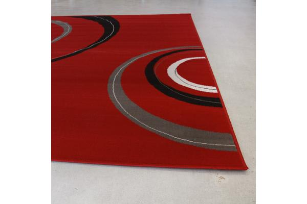 Retro Waves Rug Red Black White 280x190cm