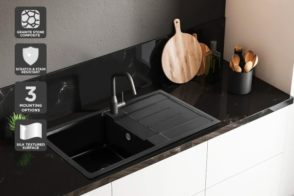 Kromo Granite Stone 870 x 500mm Kitchen Sink (Drop-in/Flush/Undermount)