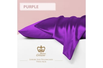 Two Mulberry Silk Fronted Pillowcases PURPLE