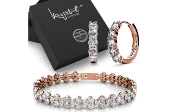 Boxed 18K Rose Gold Bracelet and Earrings Set Embellished with Swarovski crystals