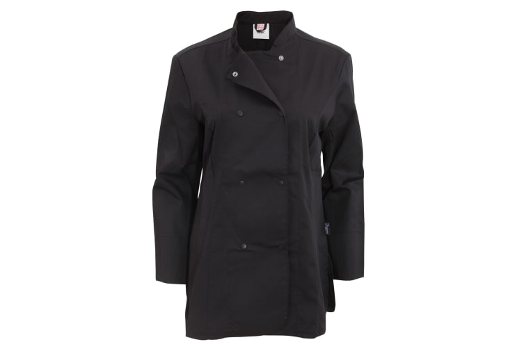 Dennys Womens/Ladies Long Sleeve Fitted Chef Jacket (Black) (XL)