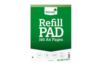Silvine A4 160 Page Narrow Refill Feint Pad (6 Pack) (Green and White) (A4)