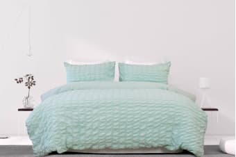 Ardor Albany Seersucker Stripe Quilt Cover Set (Sea Green)