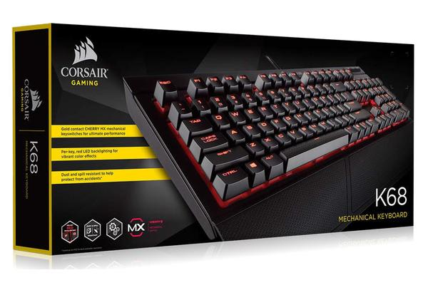 Corsair Gaming™ K68 - IP32 Spill Resistant, Compact Mechanical Keyboard, Cherry MX Red, Backlit Red LED