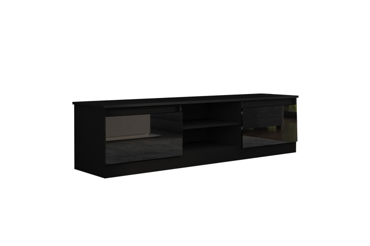 160cm TV Stand Cabinet 2 Doors High Gloss Wood Entertainment Unit Storage Shelf - Black