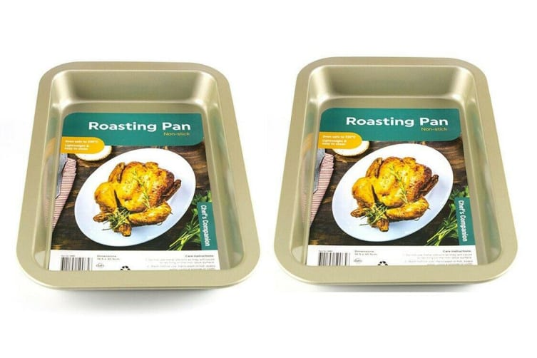 2 x OVEN / ROASTING PAN / BAKING TRAY TIN NON STICK 360 x 230 x 50mm