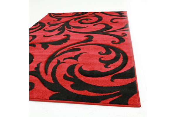 Stunning Thick Damask Rug Red 300x80cm