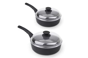 Munster 2pc Deep Fry Pan w/ Glass Lid Non Stick Frypan Frying Wok Induction