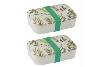2x Davis & Waddell 19cm Bamboo Fibre Lunch Box Picnic Food Container Band Leaves
