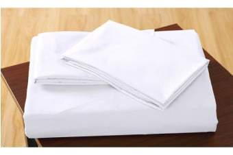 Polyester 3 Piece Bed Fitted Sheet + Pillowcase Queen Beige