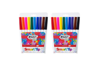 2x 10pc Texta The Original Smart Bullet Tip Markers Water Based Kids Drawing Pen