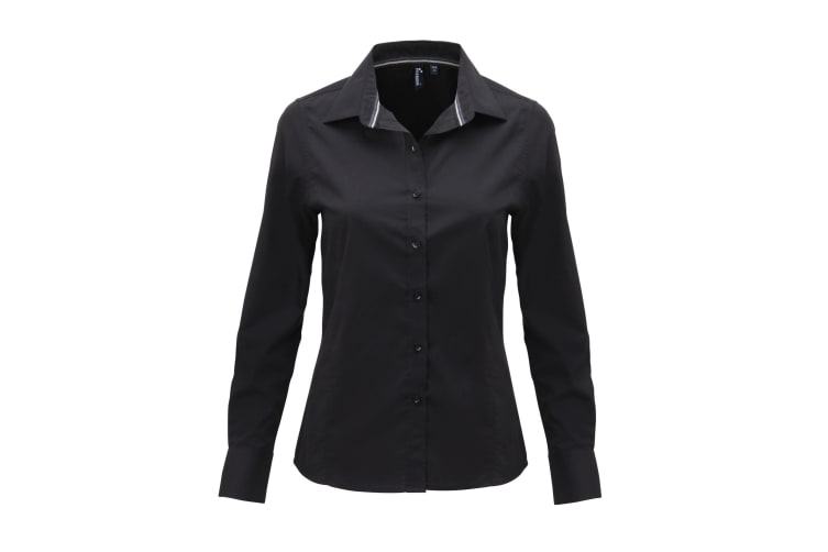 Premier Womens/Ladies Long Sleeve Fitted Friday Shirt (Black) (XL)