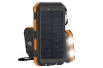 TODO Todo 8000Mah Solar Power Bank Mobile Phone Usb Iphone Charger Led Torch - Black Orange