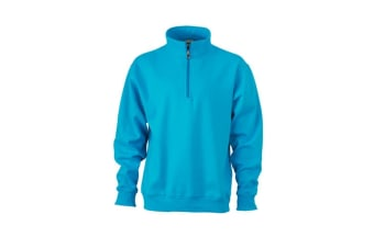 James and Nicholson Unisex Workwear Half Zip Sweatshirt (Turquoise) (M)