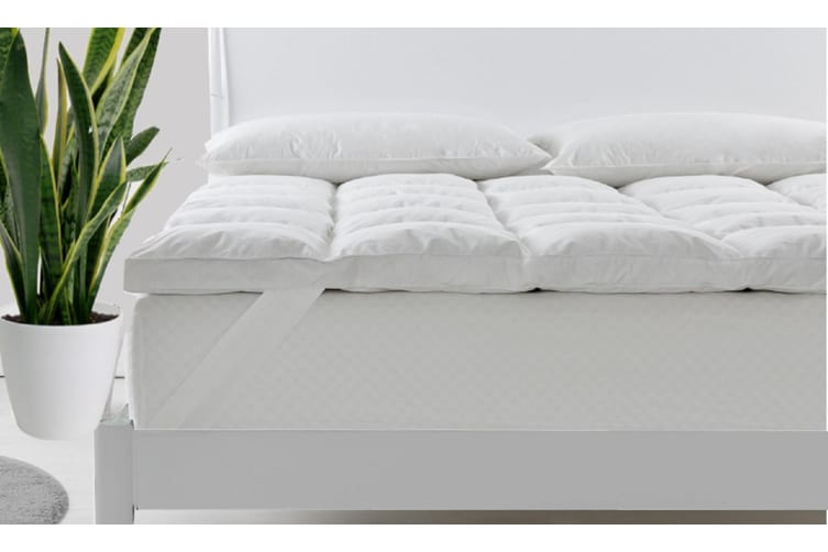Royal Comfort Duck Feather and Down Mattress Topper 1800GSM Pillowtop Underlay - King - White