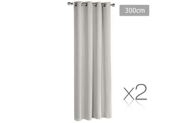 Set of 2 ArtQueen 3 Pass Eyelet Blockout Curtain (Ecru) 300cm